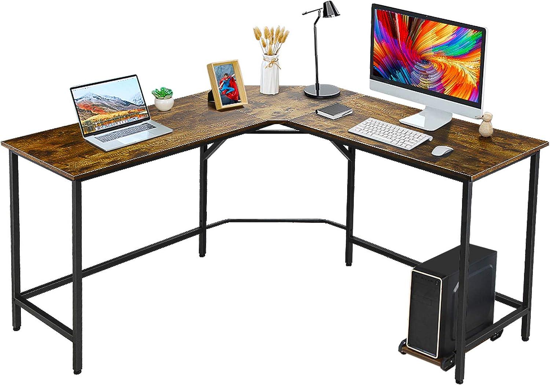 VANSPACE Modern L Shaped Desk 59'' Corner Computer Desk with CPU Stand, Home Office Desk Large Gaming Desk Workstation Study Writing Desk, DK04-Vintage Brown