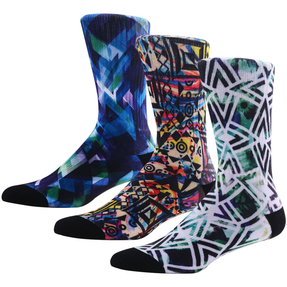Colorful Crazy Crew Socks for Men, MEIKAN Awesome Fashion Argyle Pattern Printed Geometric Mosaic Moisture Wicking Mid Calf Socks ,3 Pairs Color 5,One Size