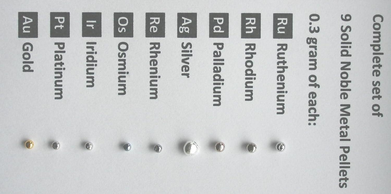 świetne oferty świetna jakość tani Complete set of all 9 noble metals in each 0.3 gram solid ...