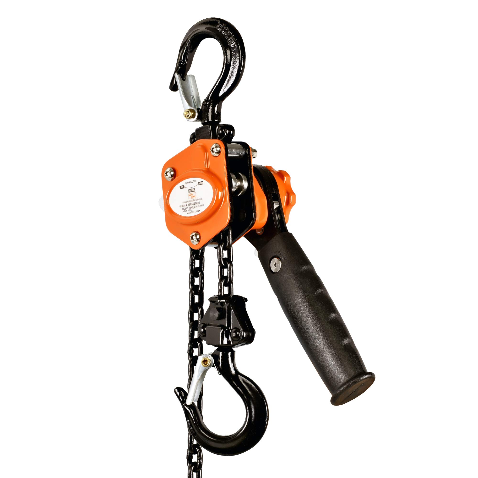 SuperHandy Mini Lever Hoist Come Along 1/4 TON 550 LBS Capacity 5FT Lift 2 Heavy Duty Hooks Commercial Grade Steel for Lifting Pulling Construction Building Garages Warehouse Automotive Machinery