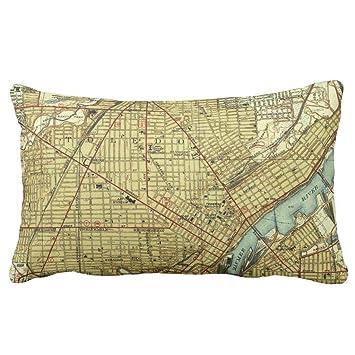 Vintage Map of Toledo Ohio (1938) Throw Throw Pillow Case ...
