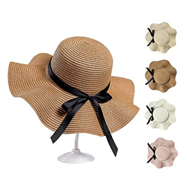 8596b0757efe2 Caiuet- Women Hat Summer Spring Bunch Straw Bow Tie Round Wide Hat ...