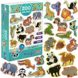 MAGDUM Imanes Animales Zoo de Pizarra Infantil para niños - Imanes Nevera Grandes - Juguetes EDUCATIVOS bebé 3 años - Imanes Pizarra magnética para Aprender - Teatro de imán Animales de la