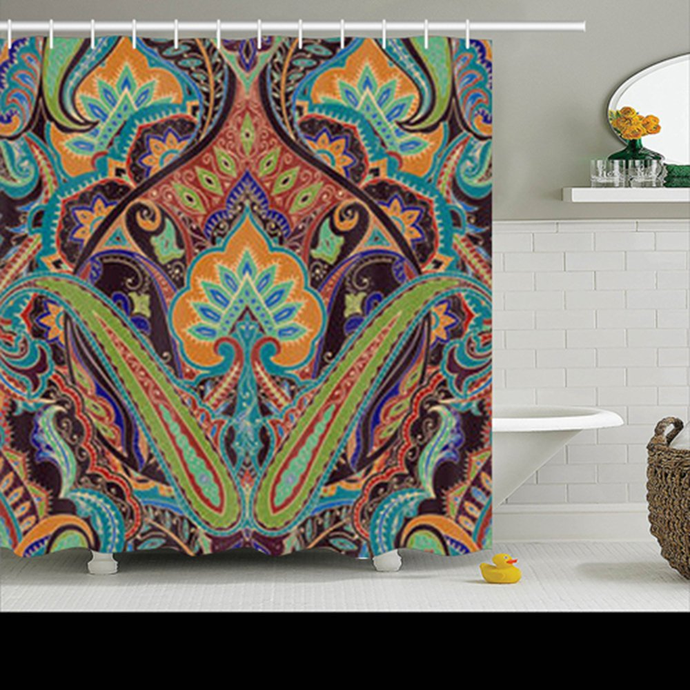 Shower Curtains Design India Seamless Paisley Pattern Decorative Border 72x72 Inches Home Decorative Waterproof Polyester Fabric Decor Bathroom Bath Curtain