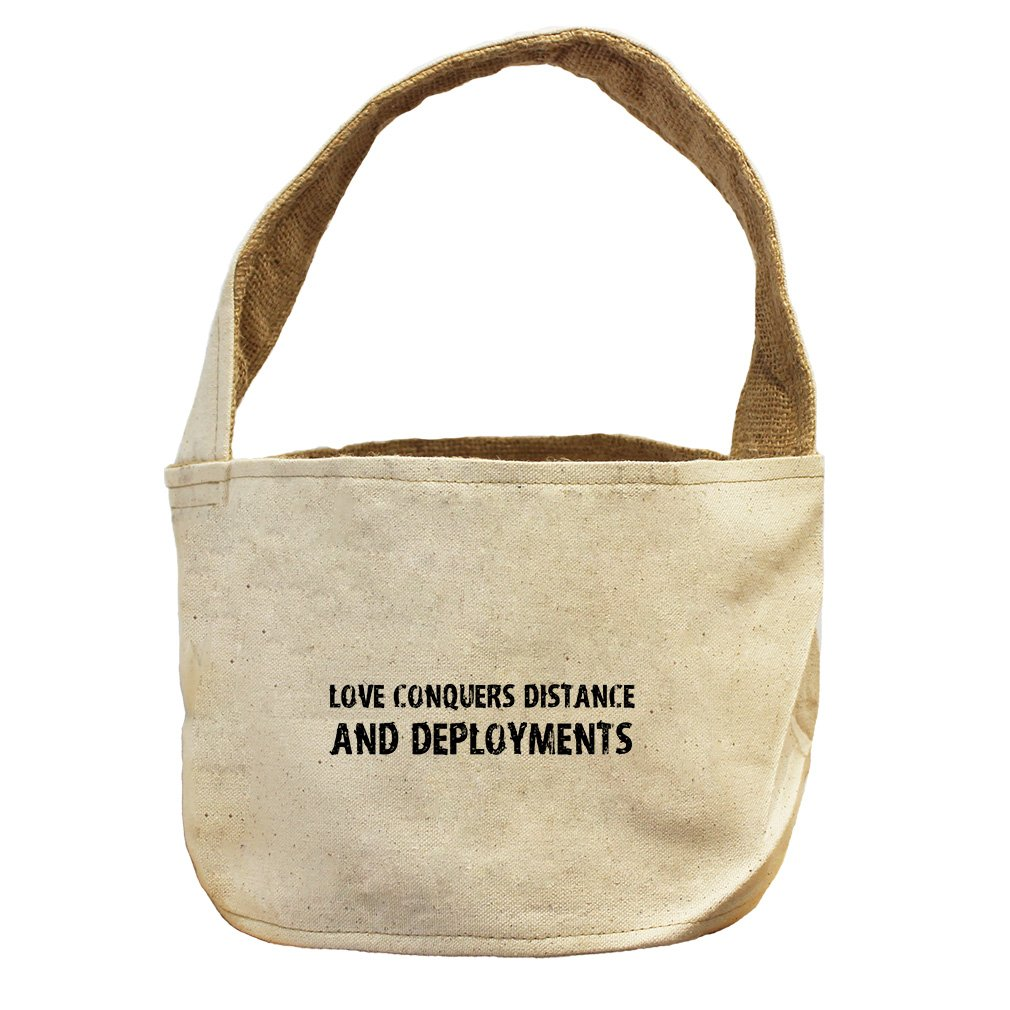 Style in Print Love Conquers Distance And Deployments Canvas and Burlap Storage Basket