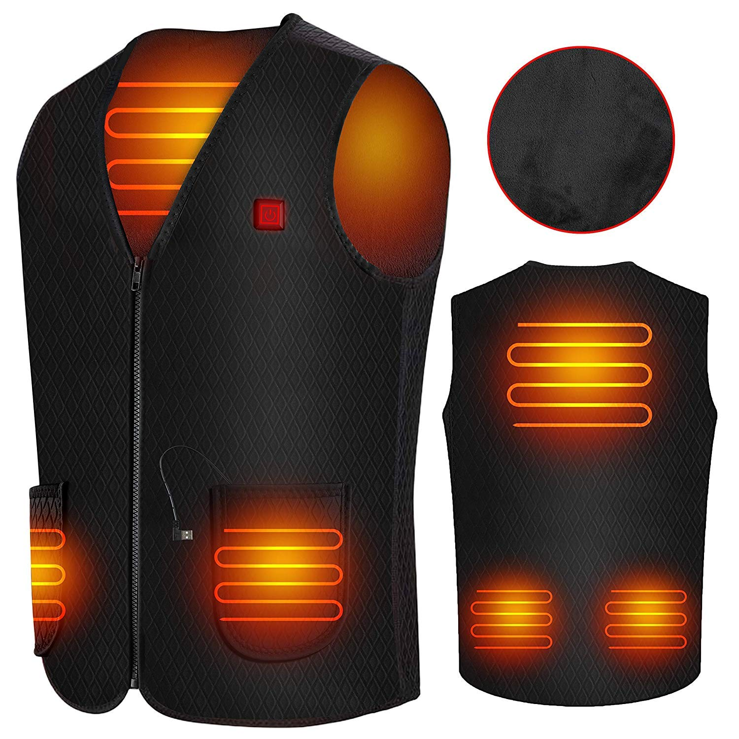 Doifck Heated Vest, USB Charging Lightweight Body Warmer Vest, Washable Electric Thermal Waistcoat Heating Warm Jacket with USB Insert for Winter Skiing Hiking Motorcycle Travel Fishing