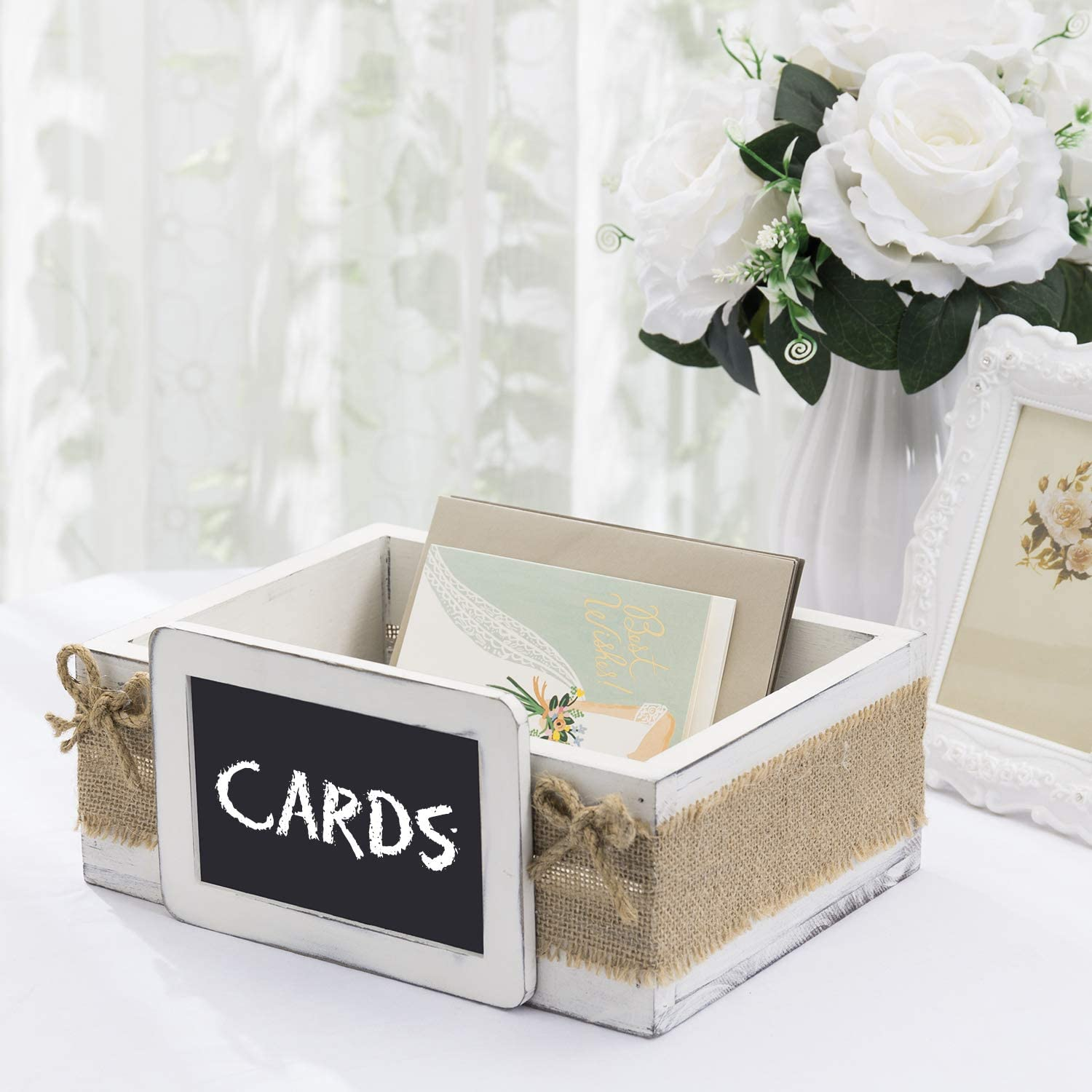 MyGift Vintage White Wood Wedding Party Guest Gift Card Box with Chalkboard Label & Rustic Burlap Wrap