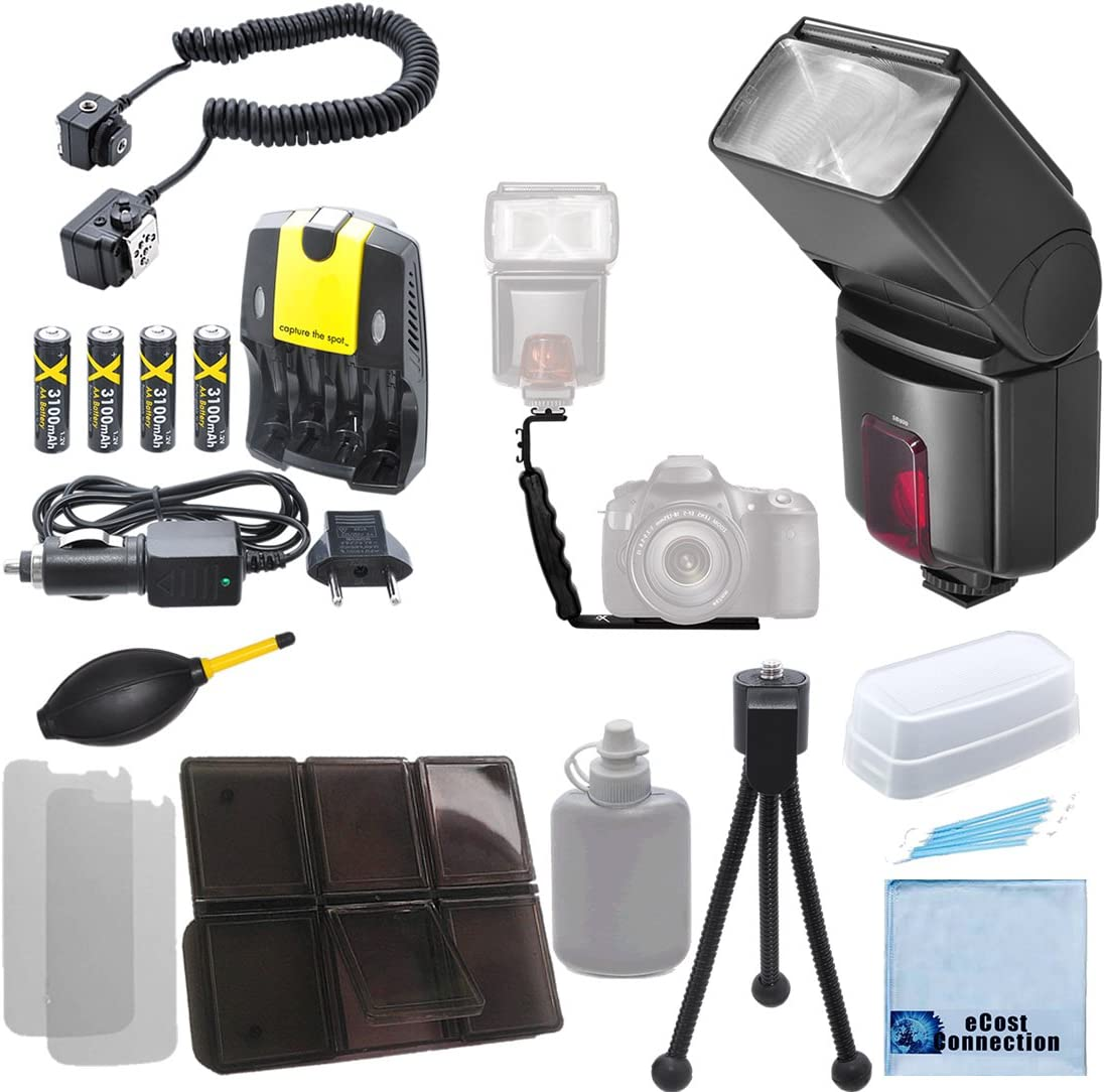 AA//AAA Charger Off-Camera Shoe Cord AF TTL Dust Blower AA High Capacity Rechargeable Batteries Complete De Right Angle Flash Bracket W// Horizontal /& Vertical Position Pro Series Digital DSLR Dedicated Flash AF Flash for Nikon DSLR Cameras /&More