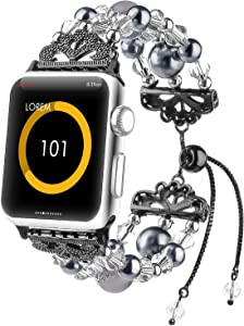 Fohuas Compatible for Apple Watch Band 38mm 40mm Series SE 6 5 4 3 2 1, Crystal Beads Handmade Pearls iWatch Bracelet Adjustable Elastic Jewelry Wristband for Women Girl, Black