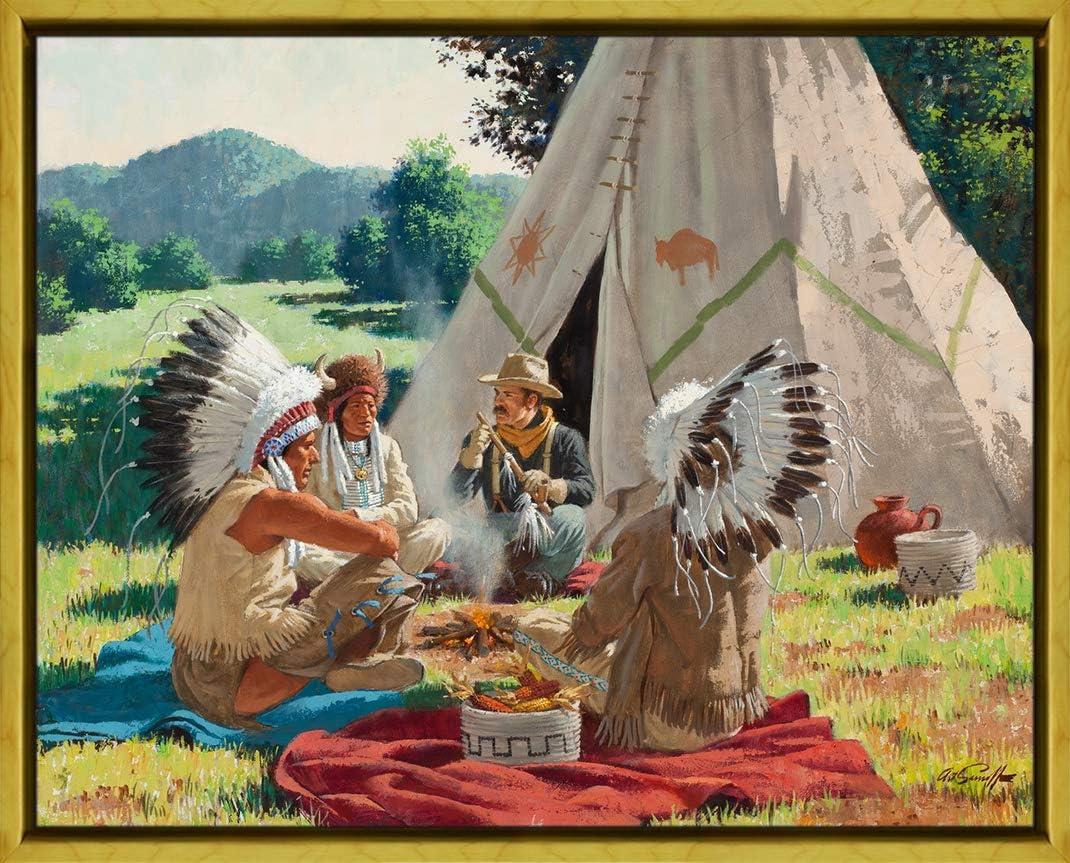 Berkin Arts Marco Arthur Saron Srnoff Giclee Lienzo Impresión Pintura Póster Reproducción Print (Los Indios están fumando la Pipa de la Paz): Amazon.es: Hogar