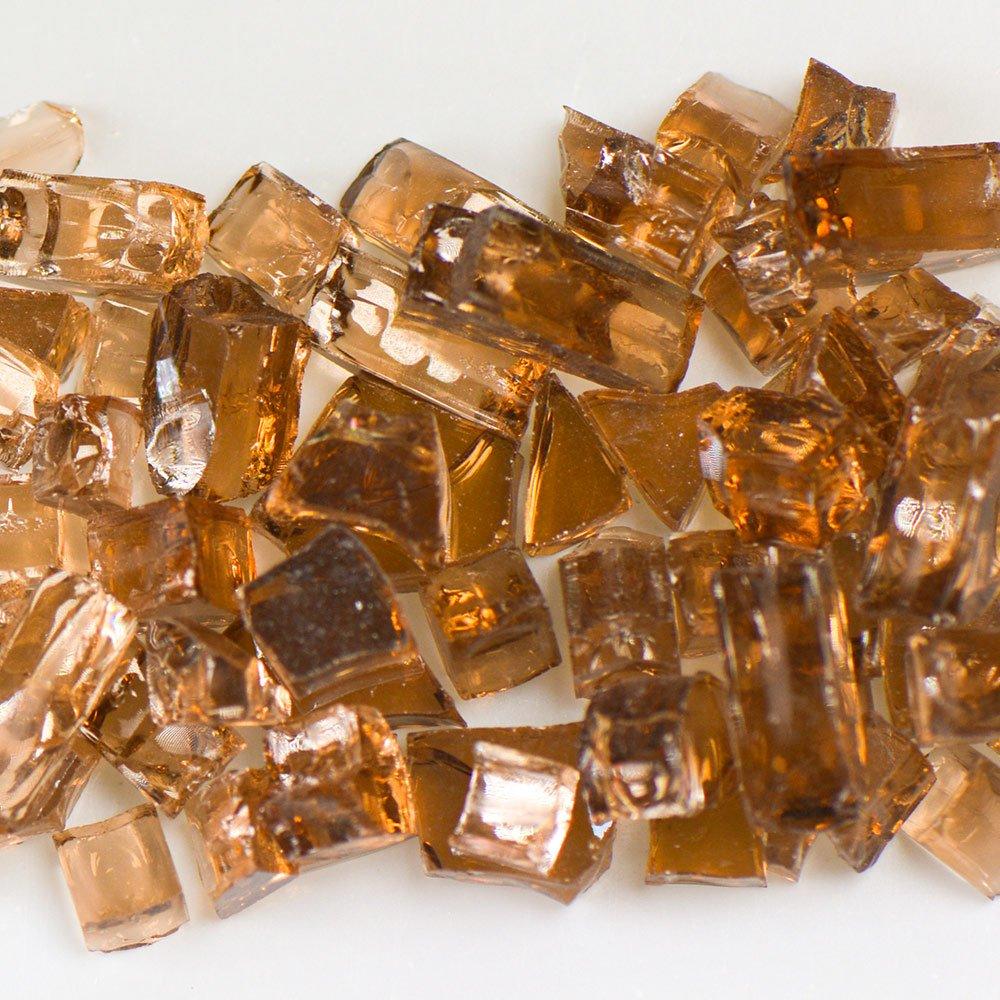My Fireplace Glass - 10 Pound Terrazzo Chip Fireplace Glass - Size 2, 1/4 - 3/8 Inch, Copper Reflective