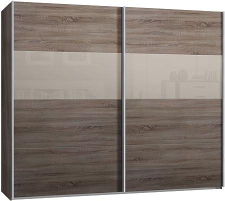 Armario de puertas correderas, armario, aproximadamente 270 cm, madera de roble salvaje, vidrio Sahara gris, Compra de fábrica, puerta corredera: Amazon.es: Hogar