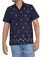 *La Leela* Shirt Camicia Hawaiana Uomo XS - 5XL Manica Corta Hawaii Tasca-Frontale Stampa Hawaiano Casuale Regular Fit NeroP045
