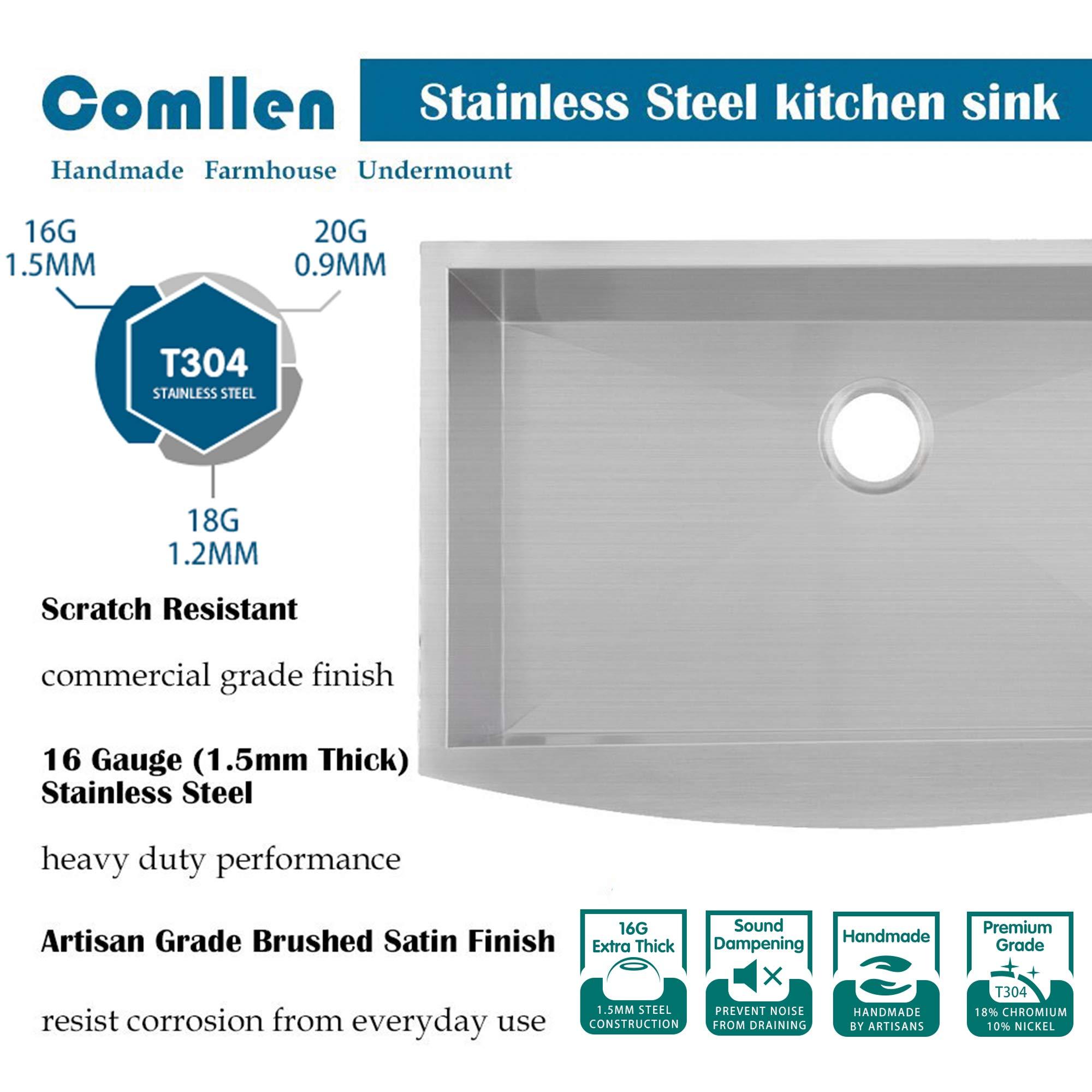 Comllen 33 Inch 304 Stainless Steel Farmhouse Kitchen Sink, Single Bowl 16 Gauge 10 Inch Deep Handmade Undermount Apron Kitchen Sink by Comllen (Image #3)