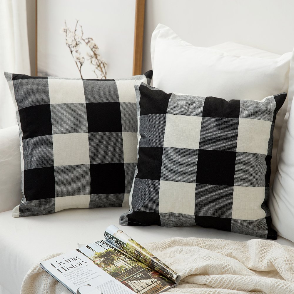 MIULEE Pack of 2, Classic Retro Checkers Plaids Cotton Linen Soft Soild Decorative Square Throw Pillow Covers Home Decor Design Set Cushion Case for Sofa Bedroom Car 18 x 18 Inch 45 x 45 Cm by MIULEE