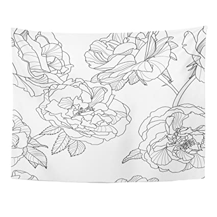Amazon emvency tapestry line floral black white outline rose emvency tapestry line floral black white outline rose flowers design linear home decor wall hanging living mightylinksfo