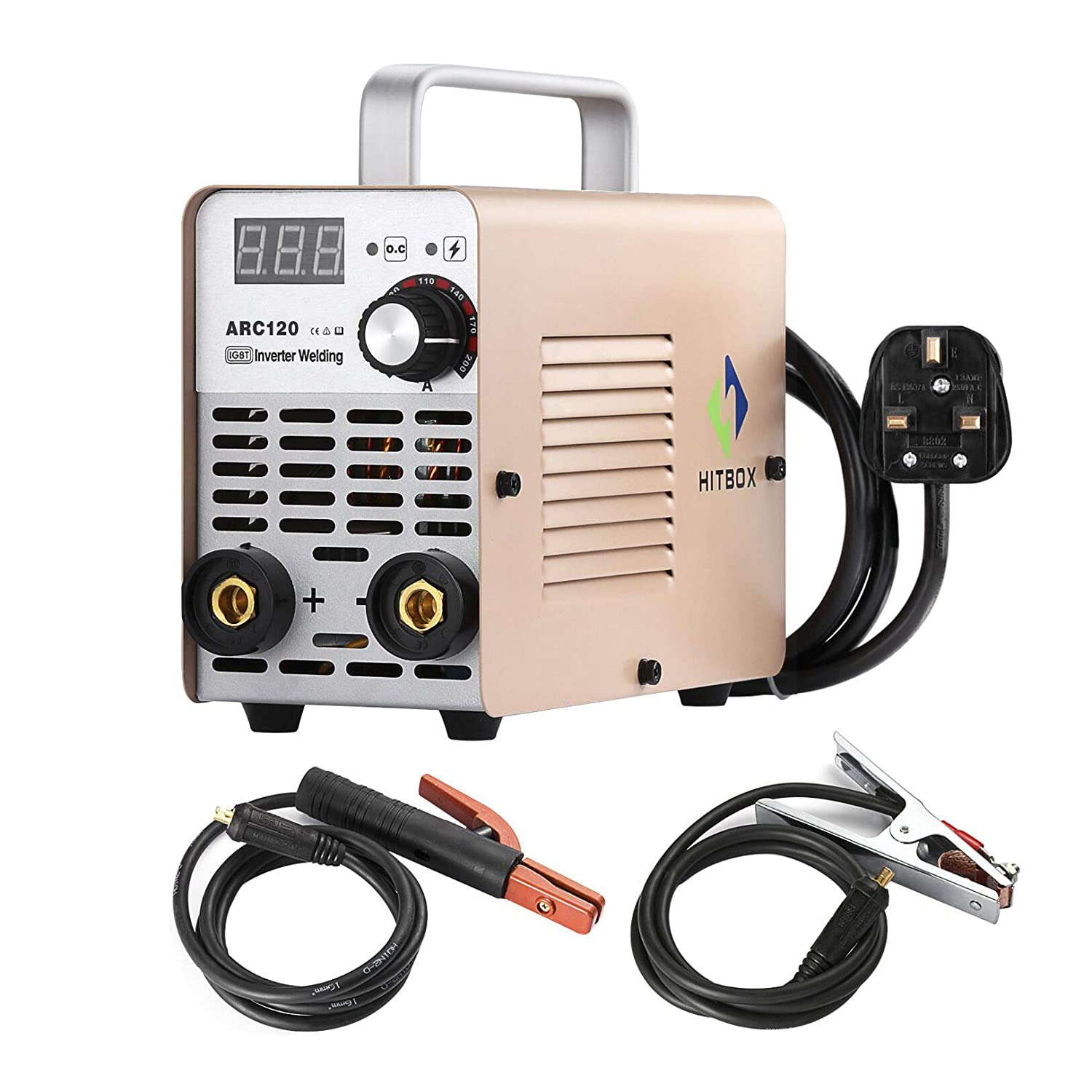 ARC Welder ARC120 DC Stick 220V MMA Inverter Welding Machine Mini Portable Style 2.5mm Rod Stick Welder with Earth Clamp Electrode and Toolbag HITBOX SHENZHEN UNITWELD WELDING AND MOTOR
