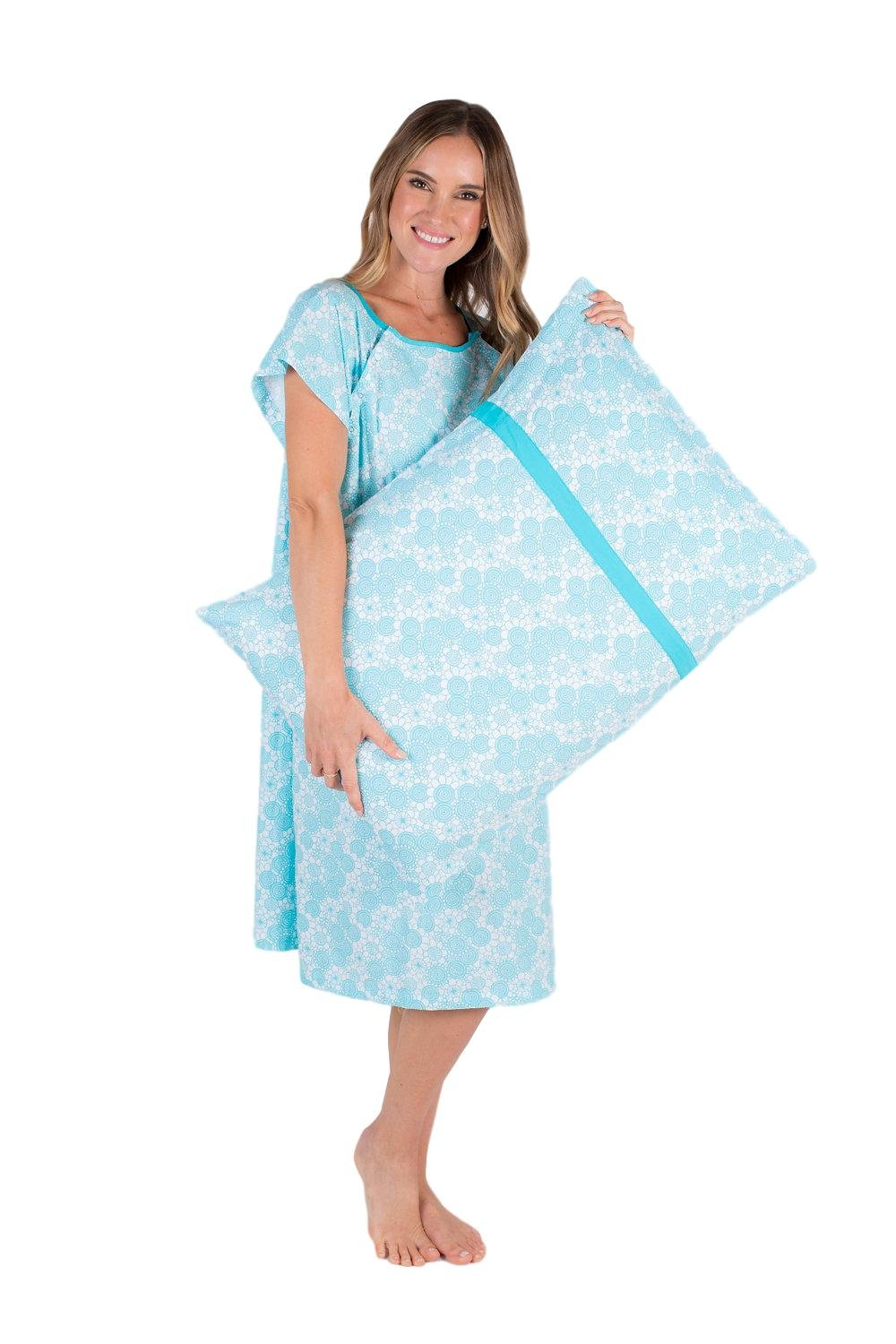 72592896b845e Galleon - Baby Be Mine Gownies - Delivery Maternity Hospital Gown Labor Kit  (Large/XLarge Pre Pregnancy 10-16, Celeste)