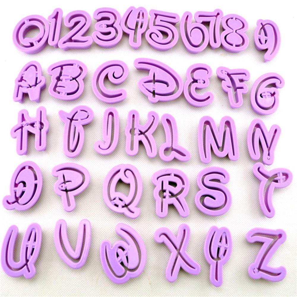 Juego de 36 moldes para tartas con números y letras, para fondant, confitería, para moldear galletas,herramientas de decoración.: Amazon.es: Hogar