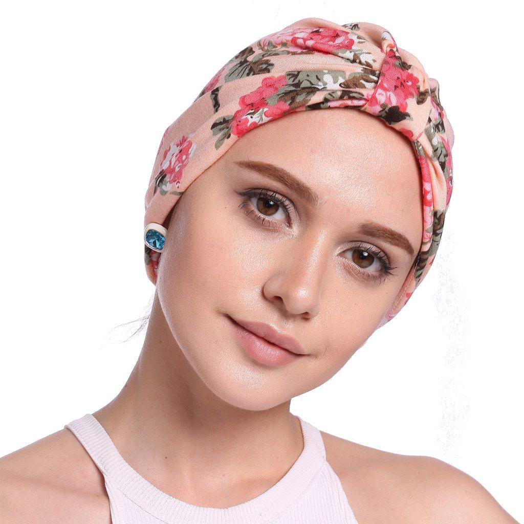 YI HENG MEI Womens Elegant Floral Pleated Indian Turban Hat Chemo Cancer Cap Sleep Cap