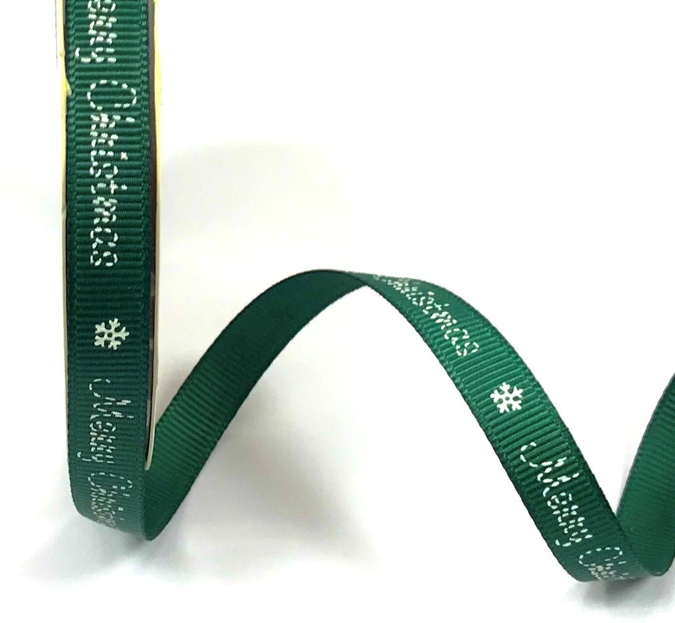 9mm 3m Ribbon Printed Grosgrain Snowflakes Green//Red Available