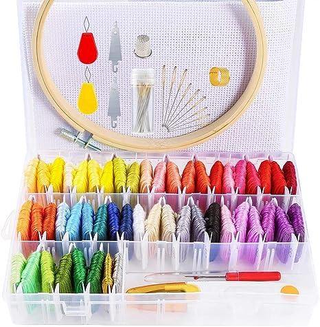 SODIAL - Hilo de Bordar con Organizador de Almacenamiento, 48 Colores, Hilo de Bordar y 2 Hilos metálicos con bobinas flipantes, 1 Pieza de bambú: Amazon.es: Hogar