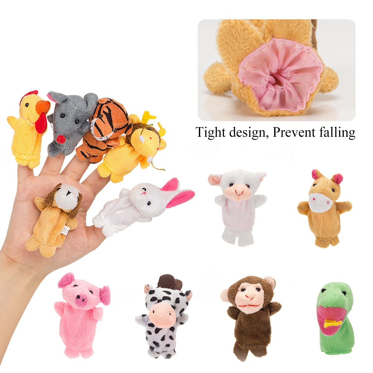 Biubee 28 PCS Finger Puppets Animal family Fruit Toys for Toddlers Kids Adults - 12 Farm Animals + 6 Family Members + 10 Fruits for Story Telling, Role Play, Great Novelty Educational Toys Set by Biubee (Image #5)