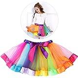 Tinksky Girls Rainbow Tutu Skirt Costume Layered Ruffle Tiered Dance Performance Dress for Girls 7-9 Years Old