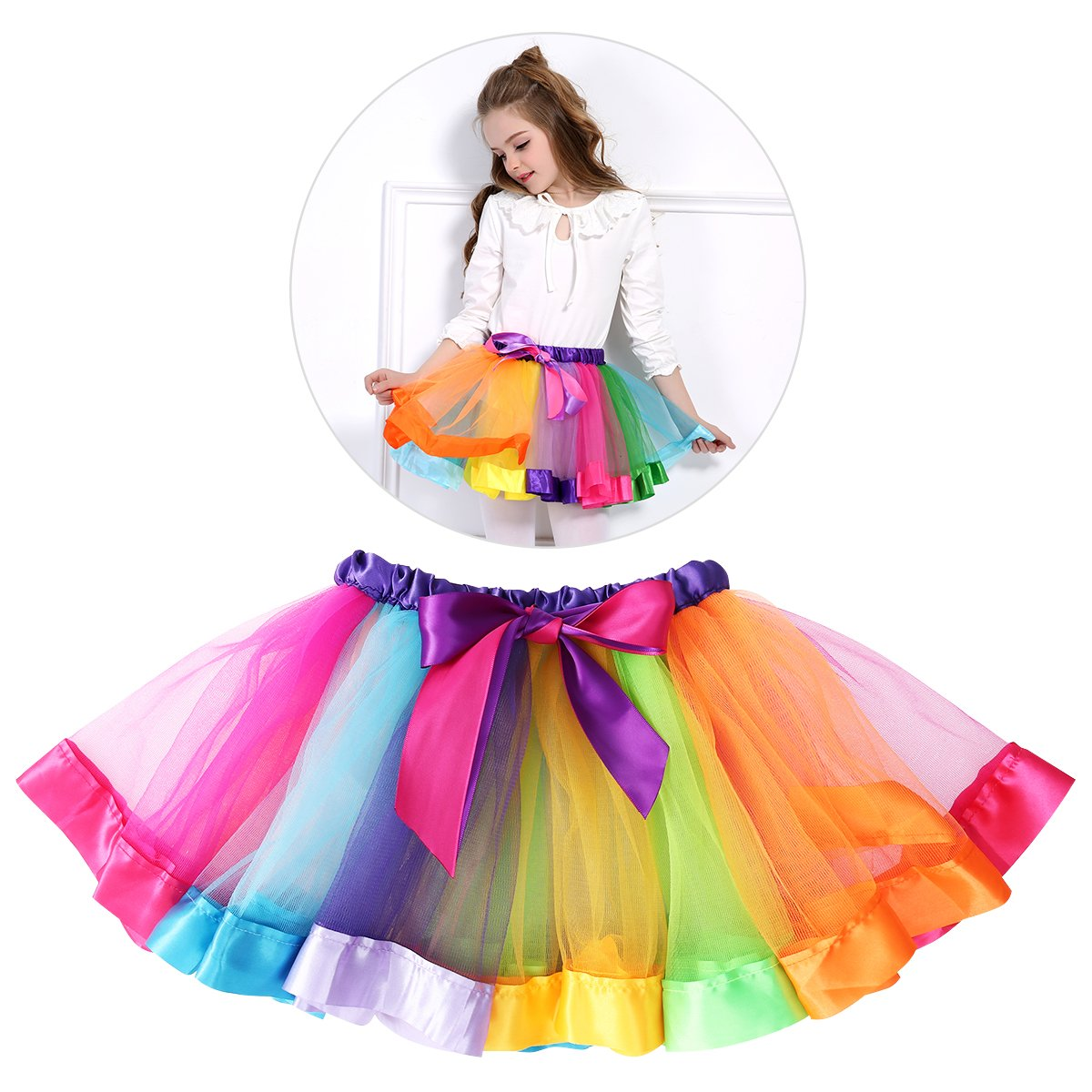 LUOEM Rainbow Tutu Skirts Costume Princess Dance Dress Ruffle Tiered Tutus Performance Dress Skirt Dress For Girls 4-8 Years Old Size L