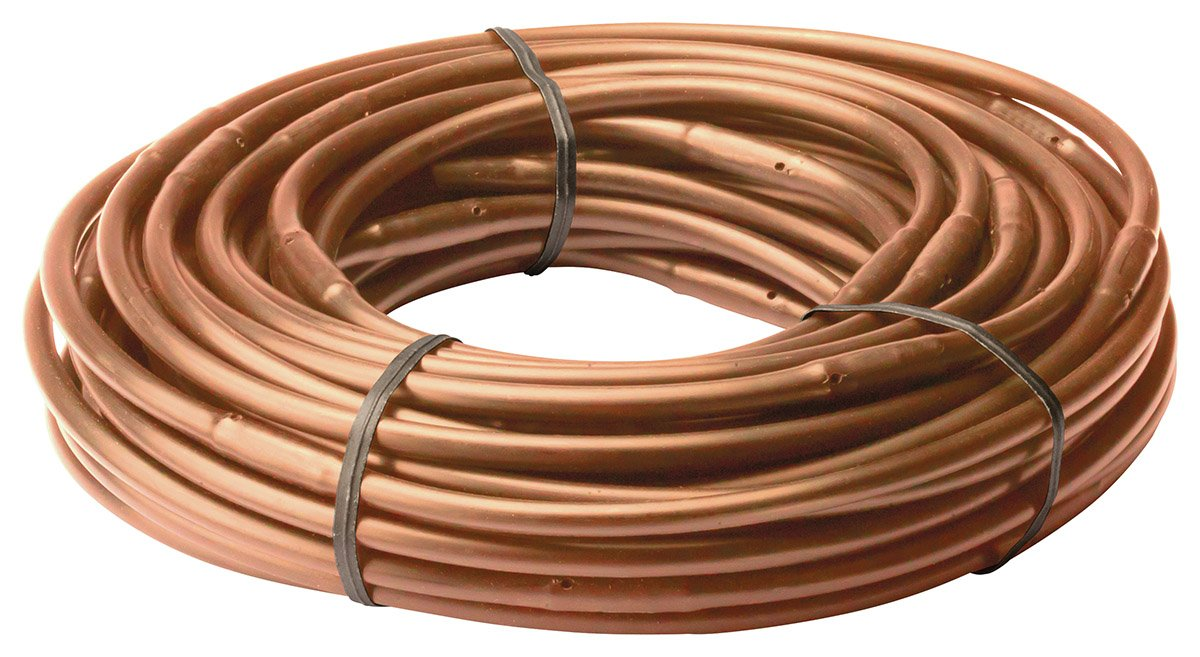 Rain Bird ET256-50S Drip Irrigation Pressure Compensating 1/4'' Emitter Tubing, 6'' Emitter Spacing, 50 Roll, Brown