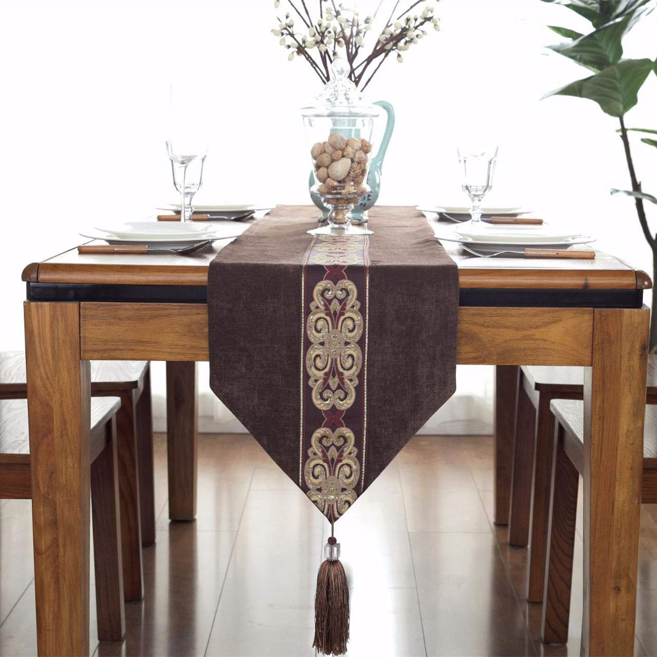 European Vintage Table Runner and Dresser Scarf with Tassels Middle Stripe Home Decor, 13 x 70 Inch, Coffee