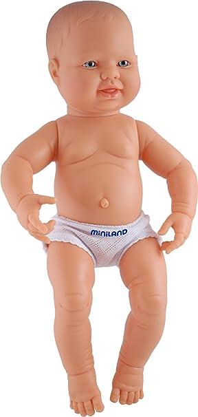 Miniland – miniland31001 40 cm recién Nacido Boy Europea Doll sin Ropa Interior