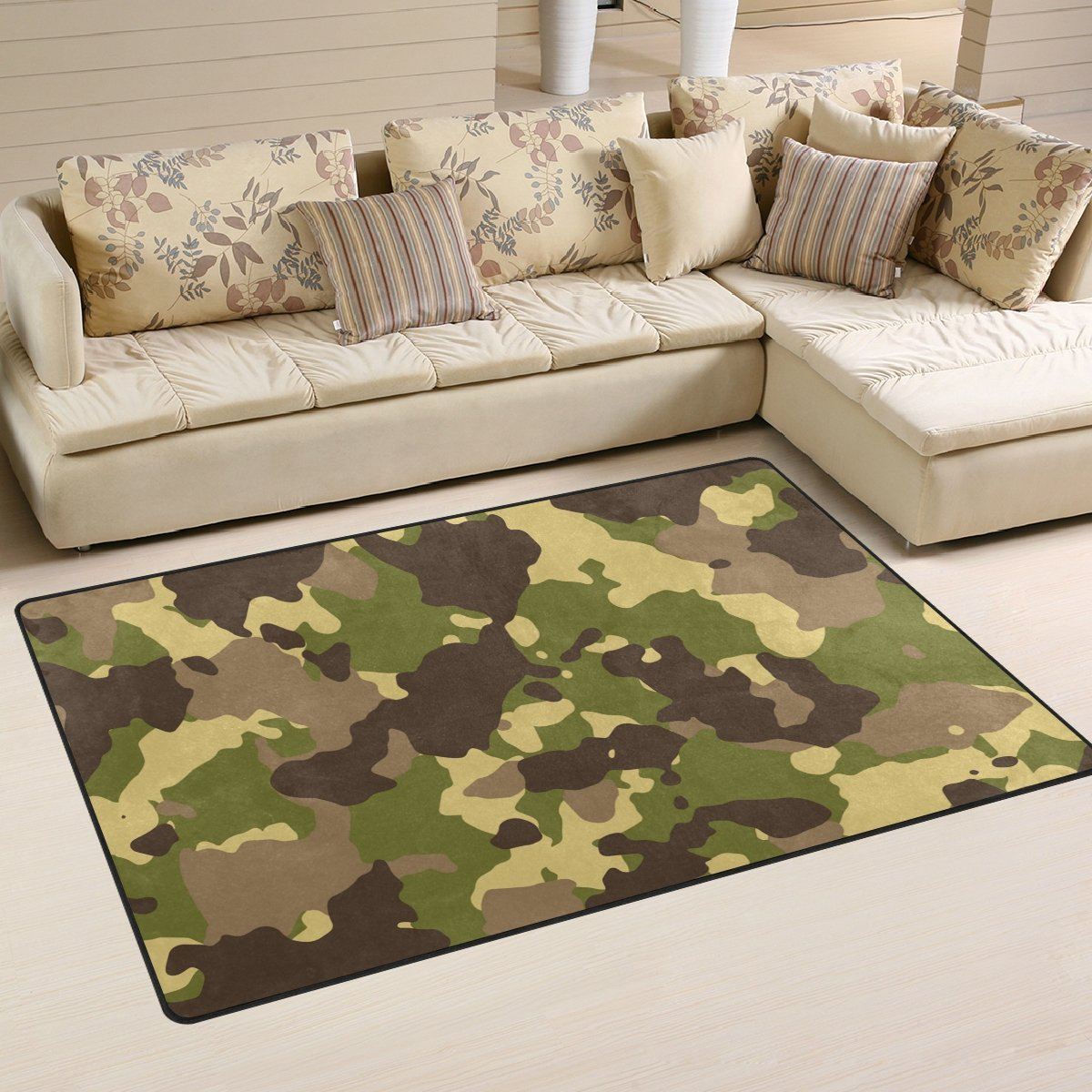 WellLee Area Rug,Camouflage Color1 Floor Rug Non-Slip Doormat for Living Dining Dorm Room Bedroom Decor 31x20 inch