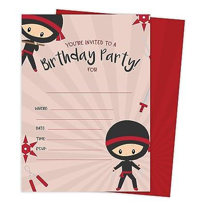 Ninja Boy 1 Happy Birthday Invitations Invite Cards 25 Count With Envelopes Seal Stickers Vinyl Boys Kids Party 25ct
