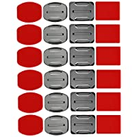 SHOOT Helmet Accessories Kit Set 12x Surface Mounts + 12x Adhesive Stickers Sticker Pads for GoPro Hero 7/6/5/4/3+/3 Hero Session SJ4000 SJ5000 Action Cameras