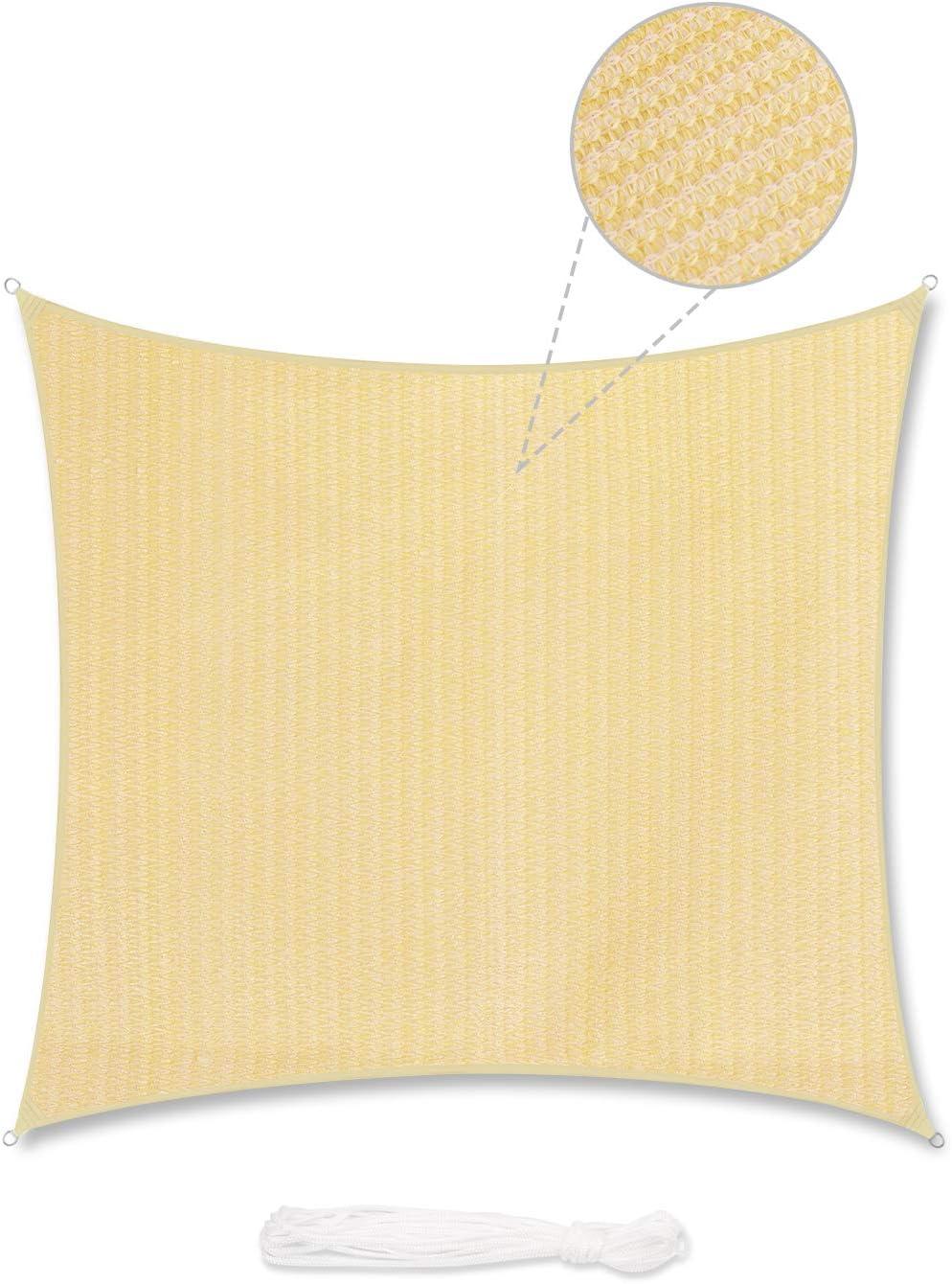 Sekey Toldo Vela de Sombra Cuadrado HDPE Protección Rayos UV Resistente Permeable Transpirable para Patio, Exteriores, Jardín, con Cuerda Libre y Kit de Montaje, 3.6×3.6m Beige: Amazon.es: Jardín