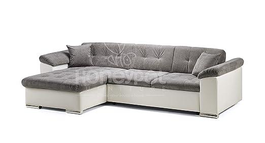 Honeypot - Sofa - Avellino - Corner - Sofa bed - Storage - Faux  Leather/Fabric (White/Grey, Left Hand Corner)