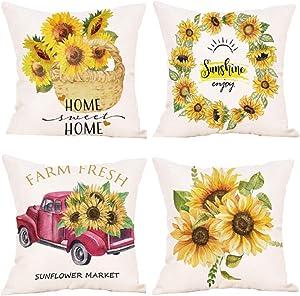 N\W Farm Sunflower Pillow Covers 18x18 Inch Set of 4 Summer Decorative Throw Pillowcase Truck Wreath Sunflower Basket Cotton Linen Cushion Case Farmhouse Home Decor