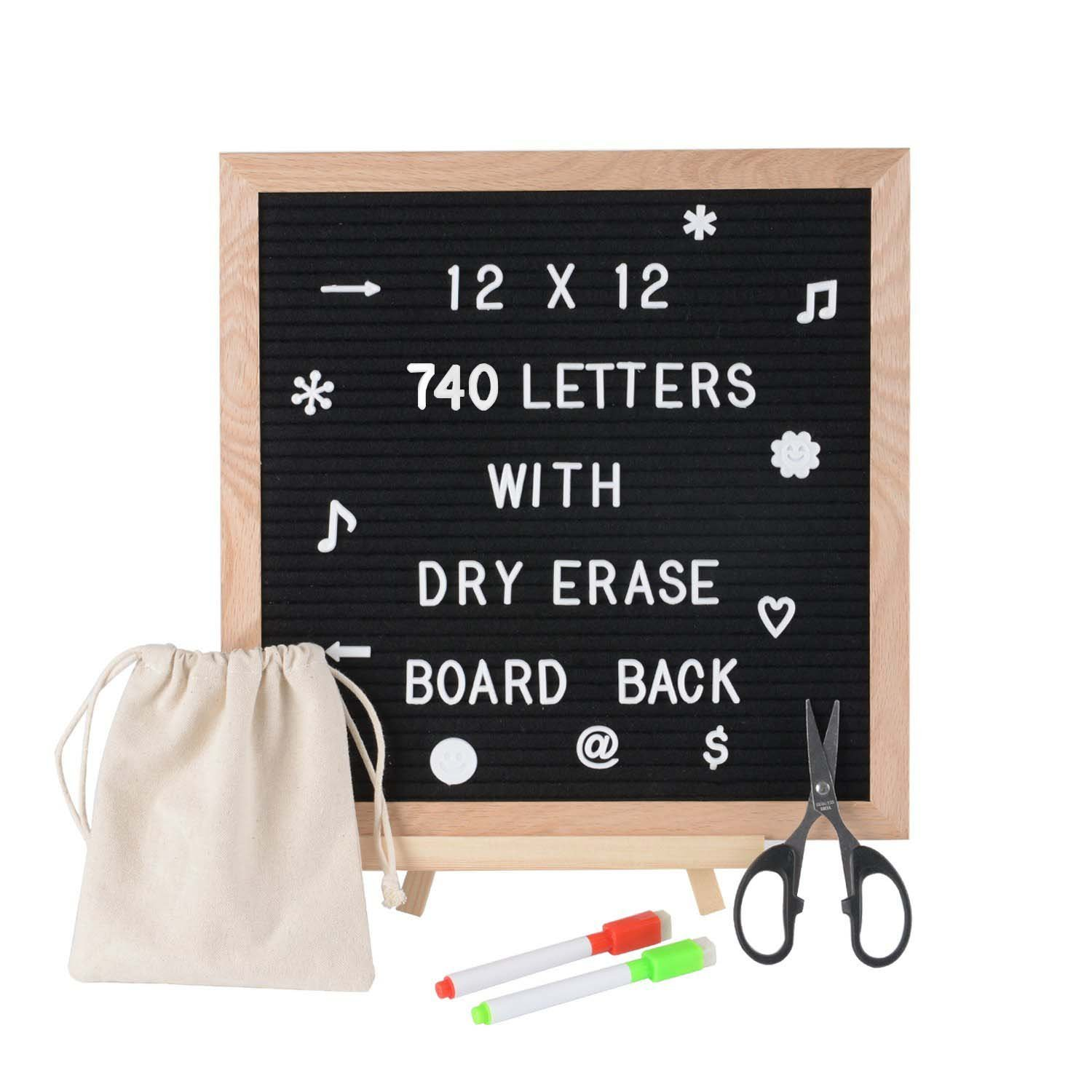 SPACECARE Black Felt Letter Board with Dry Erase Board Back, 720PCS Letters, Numbers & Symbols, 12x12 inches Wall Mount Changeable Message Board Sign, Word Board, Letterboard