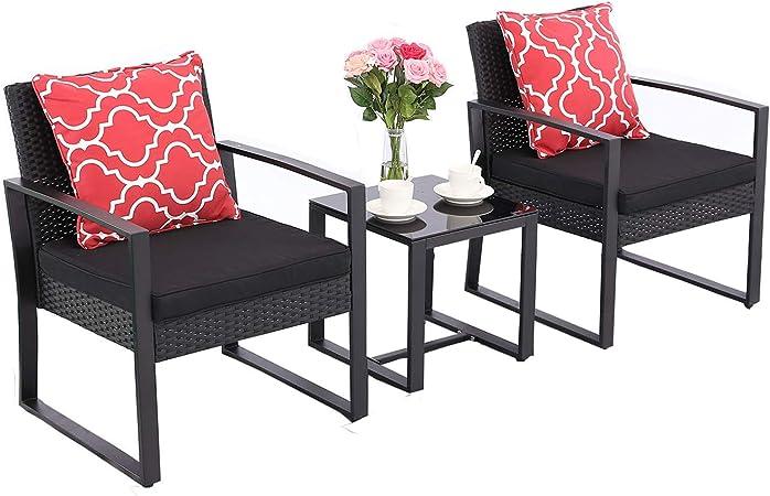 Amazon.com: HTTH - Juego de 3 sillas de jardín de mimbre ...