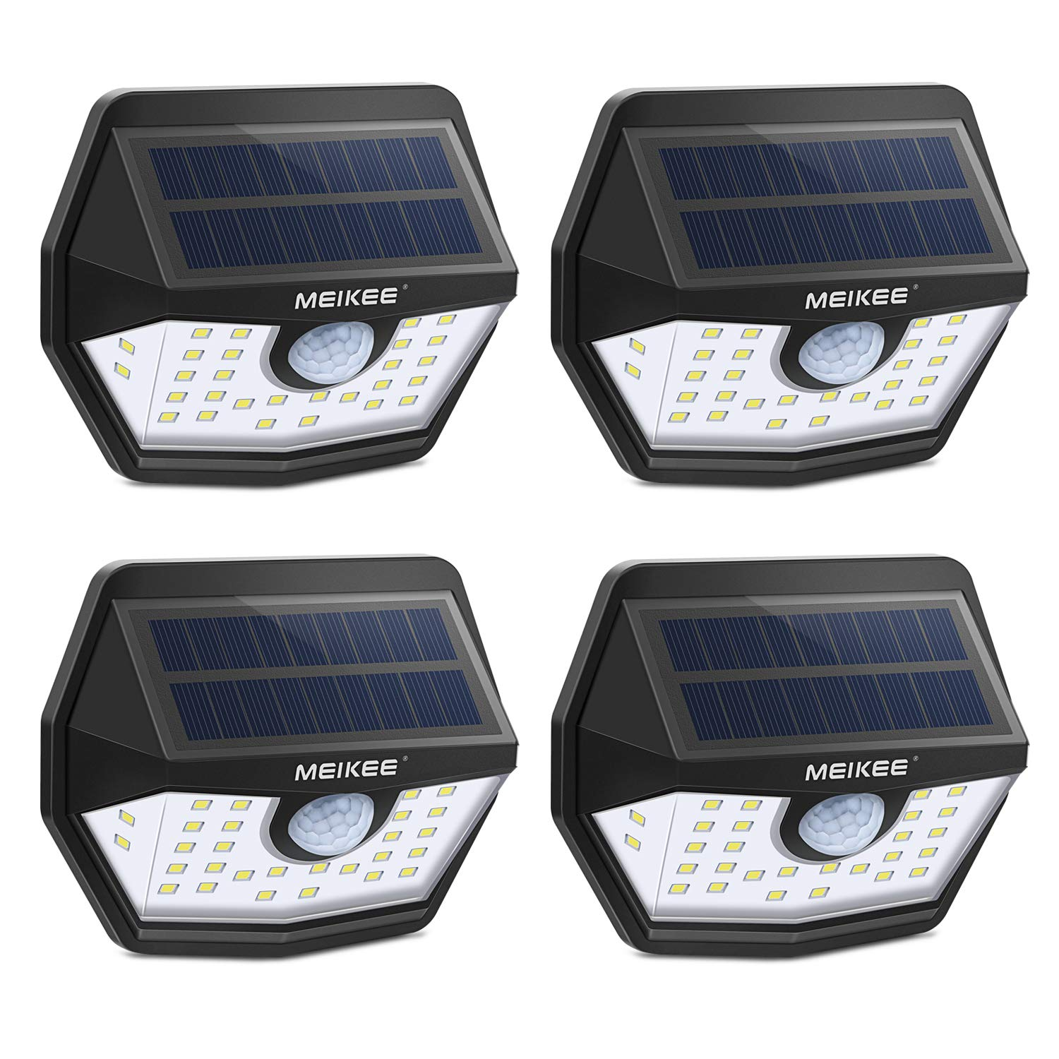 MEIKEE Solar Lights Outdoor, 30 LED Wireless IP65 Waterproof Motion Sensor Light,Easy to Install Solar Lights with 120 Wide Angle,LED Solar Lights Perfect for Patio,Yard,Garden,Garage 450 LM,4-Pack
