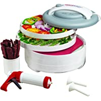 Nesco FD-61WHC Snackmaster Express Food Dehydrator, All-In-One Kit with Jerky Gun, Gray