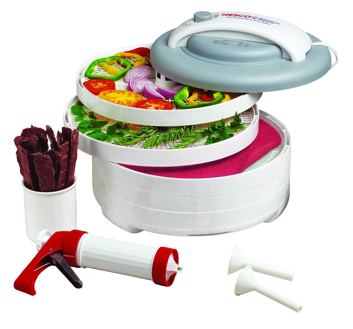 NESCO FD-61WHC, Snackmaster Express Food Dehydrator All-in-One Kit with Jerky Gun, White, 500 watts