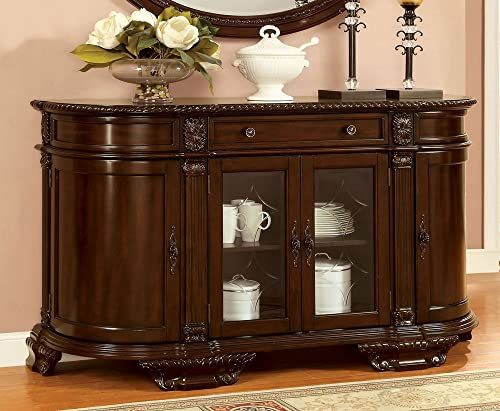 Furniture of America CM3319SV Bellagio Brown Cherry Server Dining Room Buffet