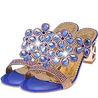 👀Slippers Pantoufles l'été Femme honestyi la Mode des Tongs Talon Haut Été Grosses Chaussures Sandales de Strass Chaussures
