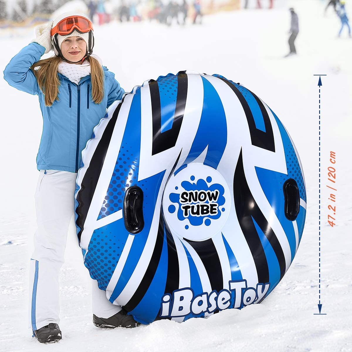 iBaseToy Super Big Snow Tube Heavy Duty Winter Snow Tube with 2 Higher Handles for Family 47 Inch Inflatable Snow Sled for Kids and Adults Snow Toys for Winter Sport Fun