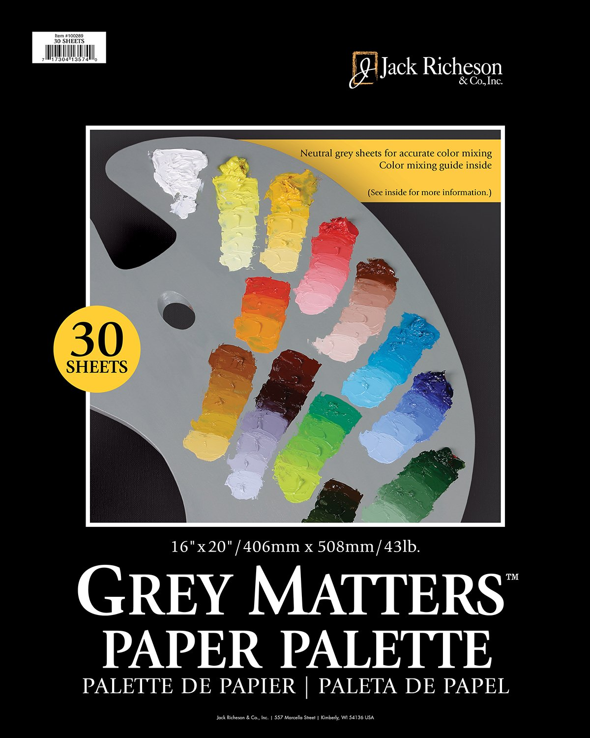 Jack Richeson Grey Matters Paper Palette 30 Sheets 16 x 20 by Jack Richeson