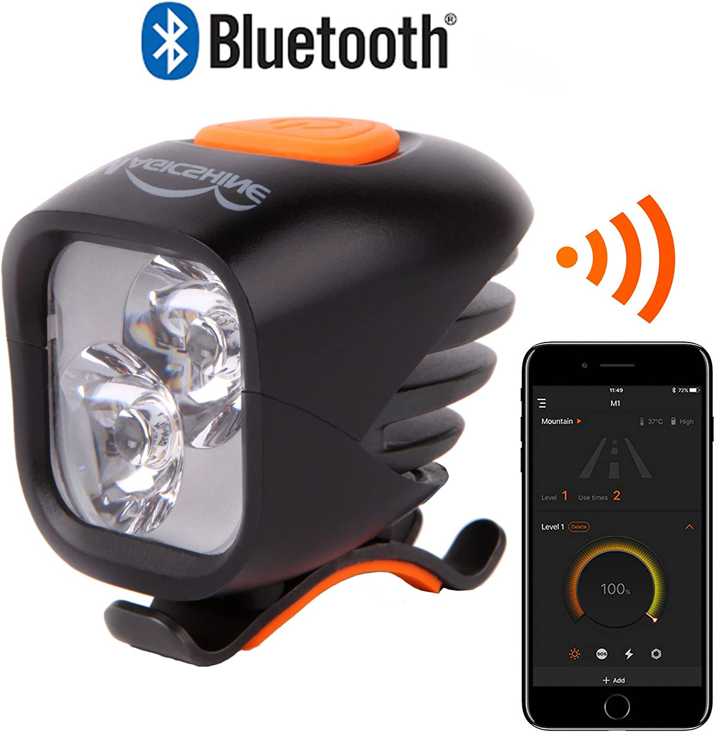 Magicshine MJ 902B Bluetooth Bicycle Headlight, 2xCREE LED 1600 lumens max Actual Output, USB Rechargeable 5.2 Ah high Capacity Battery Pack, Customizable for Mountain Biking Road Cycling.