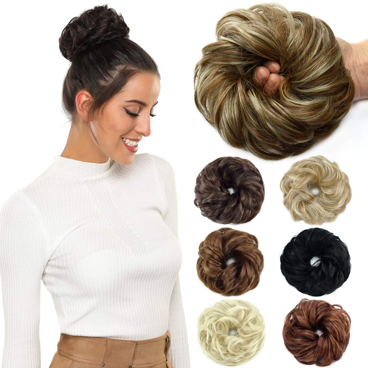ROSEBUD Hair Bun Extensions Messy Synthetic Chignon Hairpiece Easy Bun Hair Pieces for Women Hair Updos by Rose bud