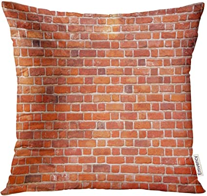 Kinhevao Throw Pillow Brown Aged Red Brick Wall Architecture Decorative Pillow Home Decor Square Pillow Amazon Co Uk Kitchen Home